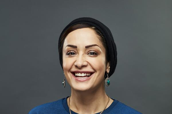 Dr Zahra Faraahi, a researcher for Target Ovarian Cancer wearing a blue top