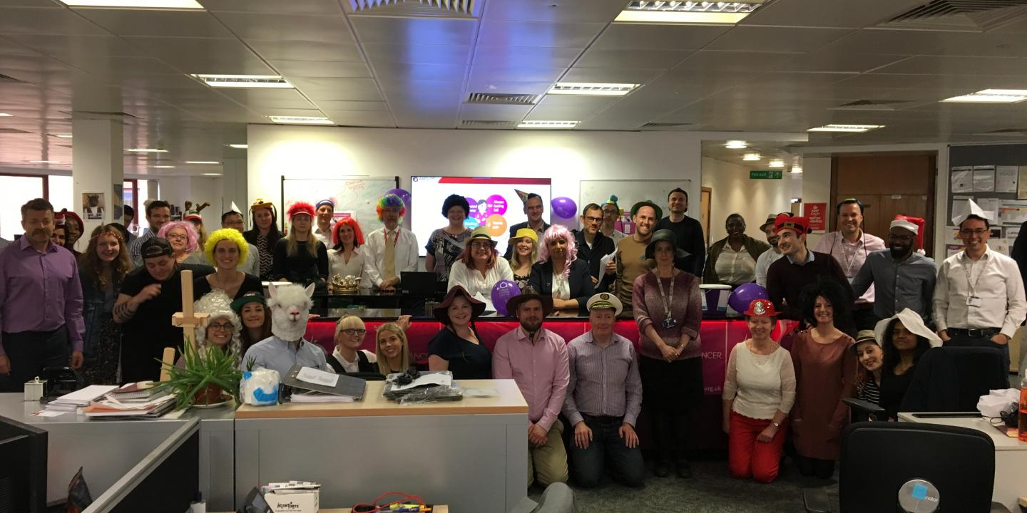 A large office team in fancy dress to raise money for Target Ovarian Cancer