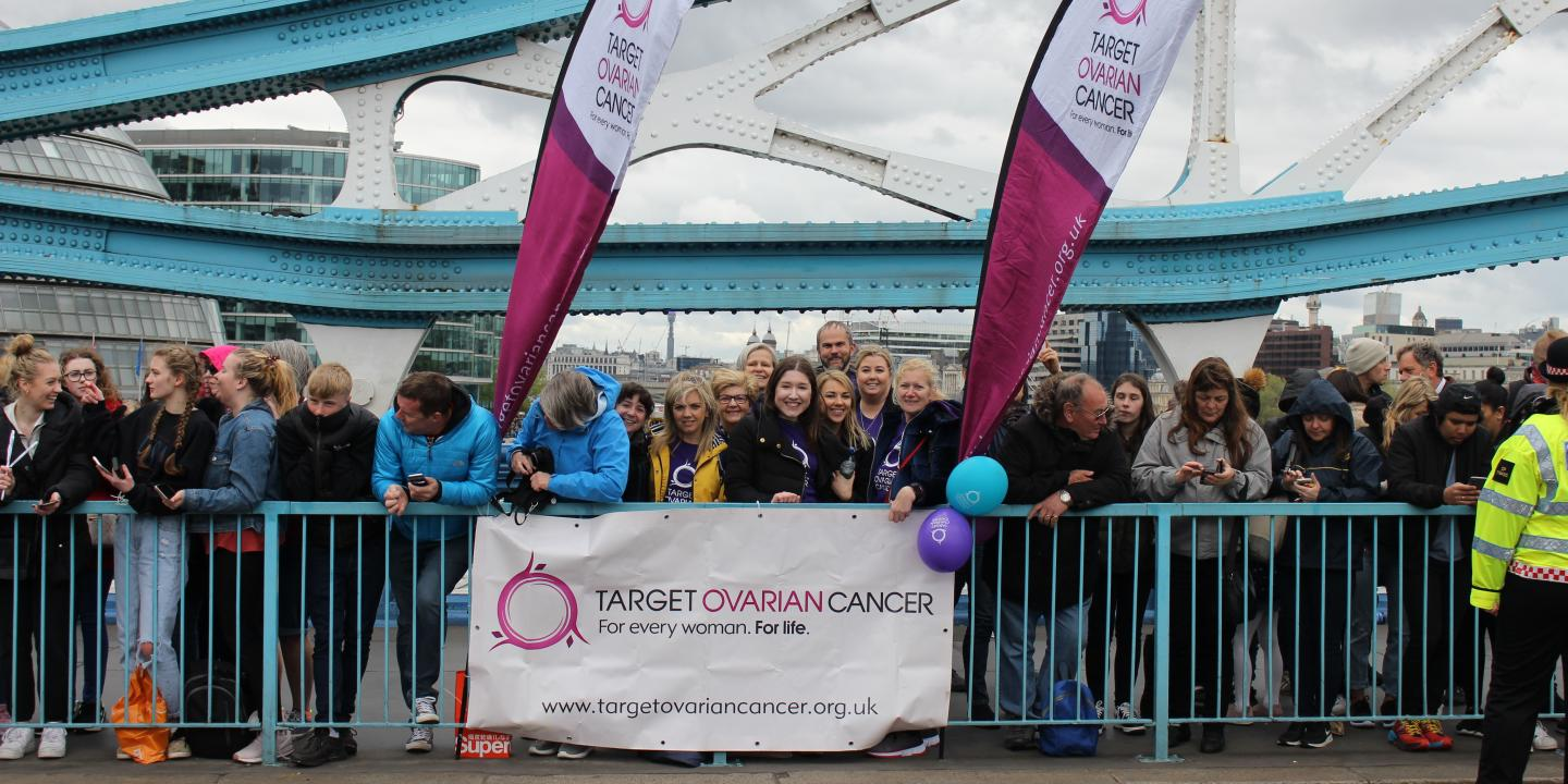 Target Ovarian Cancer cheer squad - London Marathon, Tower Bridge