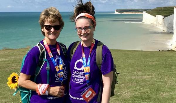 Two Target Ovarian Fundraisers walking along a coastal path as part of the South Coast Challenge