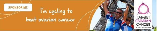 'I'm cycling to beat ovarian cancer', orange Target Ovarian Cancer sponsorship email signature