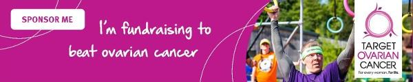 'I'm fundraising to beat ovarian cancer' - pink Target Ovarian Cancer sponsorship email signature