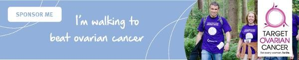 'I'm walking to beat ovarian cancer', blue Target Ovarian Cancer sponsorship email signature