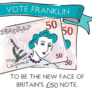 Cartoon of a £50 bank note for the campaign to make Rosalind Franklin the new face of Britain's £50 bank note