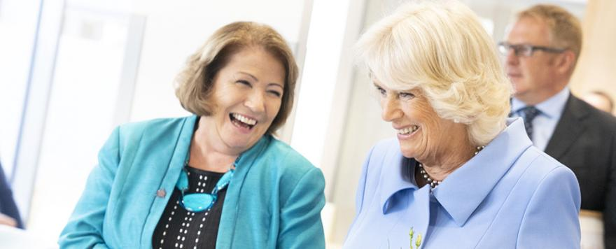 HRH The Duchess of Cornwall with Target Ovarian Cancer Chief Executive, Annwen Jones