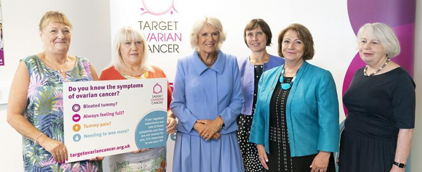 HRH The Duchess of Cornwall with Chief Executive, Annwen Jones and Target Ovarian Cancer Supporters