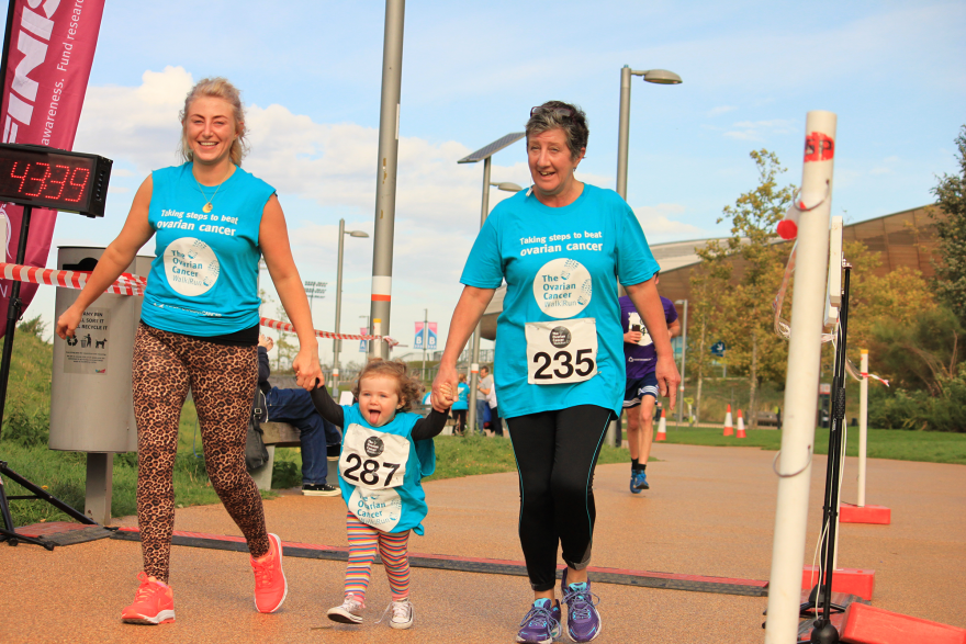 Jo with her daughter Chloe and granddaughter Lilah crossing the finish line at the Ovarian Cancer WalkRun 2018