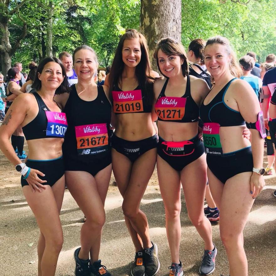 Target Ovarian Cancer fundraisers after finishing a 10k run in their underwear