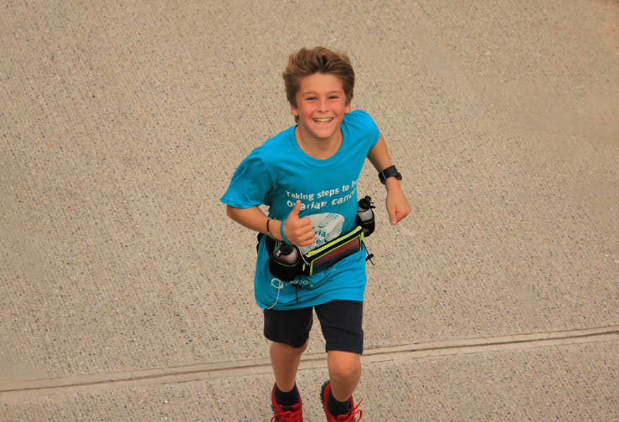 Thomas, a young Target Ovarian Cancer fundraiser during the Target Ovarian Cancer WalkRun2018
