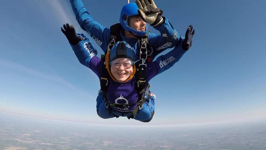 A fundraiser completing a skydive